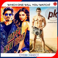 Two of the biggest movies are going to release by the end of this year!  Which movie are you excited for?  1. Happy New Year 2. PK