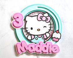 Hello Kitty Birthday Cake, Hello Kitty Cake, Cricut Cake, Hello Kitty Themes, K Crafts, Art N Craft, Cricut Creations, Birthday Cake Toppers, Birthday Party Decorations
