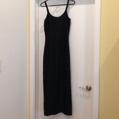 Shape FX Black Stretch Maxi Dress Textured black stretch Shape fx long dress with double straps and side slit. Size 12. New with tags. Newport News Dresses Maxi