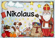 "Ideenreise: Plakat ""Nikolaus"" Christmas Music, Christmas Crafts, Xmas, Kindergarten Portfolio, Math Art, Bible Activities, Learn German, Preschool Math, Old Postcards"