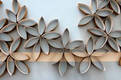 DIY Flower Wall Art - Made from toilet paper rolls and glue!