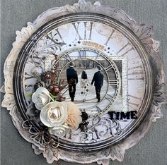 Time...scrap a heritage photo in the center of a vintage clock face to illustrate the passing of time...a stunning effect!