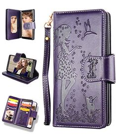Samsung Note 9 Case,Galaxy Note 9 Wallet Case,FLYEE 9 Card Slots High Capacity PU Leather Magnetic Protective Cover with Mirror and Wrist Strap for Samsung Galaxy Note 9 Purple Samsung S9, Samsung Galaxy Cases, Leather Case, Pu Leather, Tech Gifts, Galaxy Note 9, Card Wallet, Phone Wallet, Cover Design