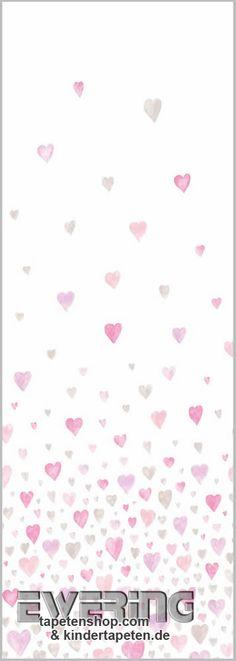 Casadeco Tapeten Kinderzimmer : Casadeco Alice & Paul 36-AEP28188317 rosa-rot Wandbild Herzen R E D