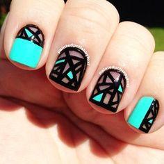 painted polished geometric nail art ideas - Geometric nail art ideas are creative and unique by luluyaya