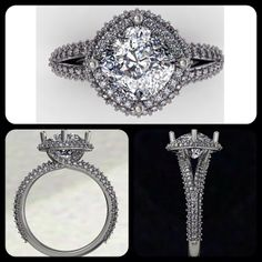 """Sneak peak at my next """"wow"""" design. This one will feature a 2.00ct cushion cut on a rotated pave halo. The sides will feature a split shank pave setting that flows into a criss-cross design on the gallery. #diamond #diamonds #wedding #weddings #engagementring #ring #rings #bride #brides #halo #jewellery #jewelry #thediamondstudio"""