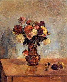 Dahlias in a copper vase - Paul Gauguin