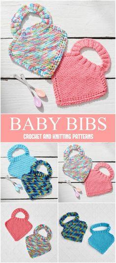 Crochet or Knit Baby Bibs - Free Patterns - Yarnandhooks