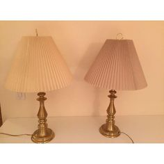 Pair Of Tahari Bedside Lamps With Gold Rectangular