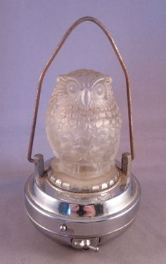 An Art Deco Frosted Glass and Chrome Night Light Lamp - Working