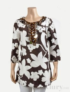 Tory Burch Floral Silk Tunic with Embellisments- $120