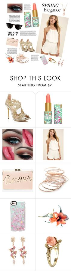 """""""Spring elegance"""" by cqb824 ❤ liked on Polyvore featuring beauty, Oscar de la Renta, tarte, LULUS, Ray-Ban, BCBGMAXAZRIA, Red Camel, Casetify, WithChic and Vintage"""