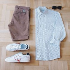 Outfitgrid - Carhartt shorts / Carhartt shirt / Cole Haan sunglasses / adidas Y's Super Position shoes