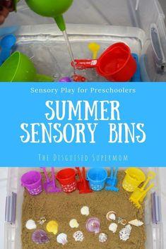 Summer Sensory Bins for Toddlers and Preschoolers | Sensory play | Summer activities for kids | Toddler activities | Preschool activities | Sensory bin ideas #sensoryplay #sensorybins