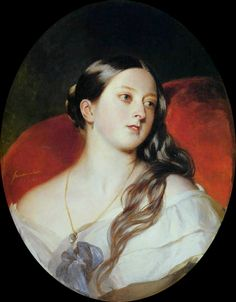 """Queen Victoria - Franz Xaver Winterhalter.  Commissioned by Queen Victoria and given to Prince Albert on his birthday, 26 August 1843, hung on an adjoining wall. Victoria was just 24 when Winterhalter completed the painting, which was later described as her husband Albert's """"favourite picture."""""""