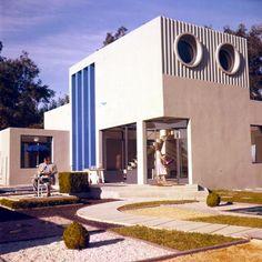 Set photo from Mon Oncle 1958 Jacques Tati. Production Design Henri Schmitt. Set Decoration Henri Schmitt.