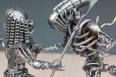 Alien Vs Predator metal art sculpture made of welding recycled spare part.for Alien He can be taken a part, head, body,tail,legs. Alien Vs Predator, Metal Art Sculpture, Man Cave Garage, Steel Metal, Decoration, Welding, Take That, Design Inspiration, Legs