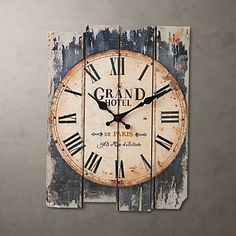 """15""""H Country Style Brown Wall Clock – USD $ 29.99"""