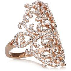 Diane Kordas Arabesque 18-karat rose gold diamond ring (£3,405) ❤ liked on Polyvore