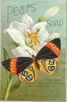 "A vintage look and feel adorns this retro design. The pale blue background is a perfect backdrop for the focal point which is this brightly colored butterfly sporting the ""Pears Soap"" brand name."
