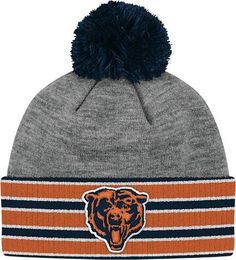 Amazon.com : Chicago Bears Mitchell and Ness NFL The Jersey Stripe Vintage Cuffed Premium Knit Hat with Pom : Sports Fan Beanies : Sports & Outdoors