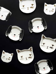 Assiette Jetable Carton Découpe Forme Chat Meri Meri - Achat / Vente Sweet Party, Party Suppliers, Party Tableware, Plates, Animals, Disposable Tableware, White Kittens, Licence Plates, Dishes
