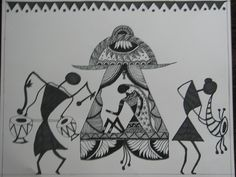 Tribal paintings of India Worli Painting, Acrylic Paintings, Indian Arts And Crafts, Indian Folk Art, Madhubani Painting, Indian Art Paintings, Art Pictures, Art Pics, Wallpaper Pictures