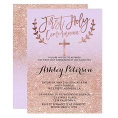 Rose gold glitter purple ombre first communion invitation