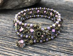 Shimmering Lilac Faceted Czech Glass and Crystal Multi Strand