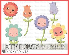 Happy Flowers SVG Cutting Files -For Use with Cutting Machines - svg, mtc, pdf, gsd, and wpc files