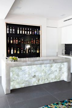 Touch Wood Cabinetry 8141 White Quartz #kitchen #design #luxury #island #highend #bar