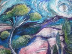 Kayla coo: Textile Landscape Yarn and textile a way to express an inner landscape Tree Leaves, Textile Art, Fiber Art, Textiles, Quilts, Landscapes, Artwork, Pictures, Image