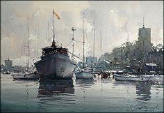 Dusan Djukaric  Sailing club in Zemun, watercolor, 38x56 cm - Jedriličarski klub u Zemunu, akvarel 38x56 cm