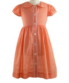 Look at this #zulilyfind! Apricot Polka Dot Button-Front Dress - Infant, Toddler & Girls #zulilyfinds