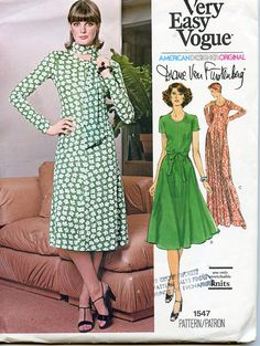 VOGUE 1547 DRESS PATTERN Scoop Neck Knit Dress Diane Von Furstenberg Vogue American Designer Bust 32.5 Size 10 UNCuT Womens Sewing Patterns