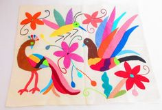 Mexican Otomi fabric, tribal fabric, embroidered, colorful Otomi embroidery from Mexico, Otomi Textiles, peacock, bird