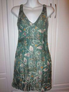 Womens Cynthis Rowley Green Multi Colored Floral Silk Metallic Dress 2 #CynthiaRowley #Sheath #Festive