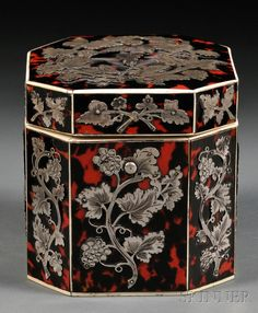Silver-mounted Red Tortoiseshell Tea Caddy, England, c. 1800, ivory trimmed octagonal shape with applied fruiting grapevines to each panel