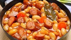 Bean soup with sausage, my country's national food. Hungarian Recipes, Russian Recipes, Baked Bean Recipes, Cooking Recipes, Healthy Recipes, No Cook Desserts, Baked Beans, Bean Soup, Food 52