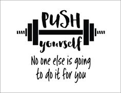 Push yourself No one else is going to do it for you, Workout Room Wall Vinyl, Weight room Exercise room home gym wall art wall decal HH2269 by WildEyesSigns on Etsy