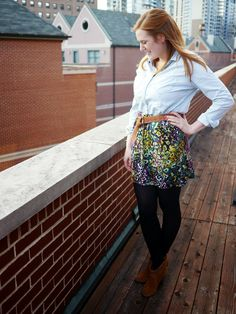 Chambray shirt, floral skirt, tights, ankle booties