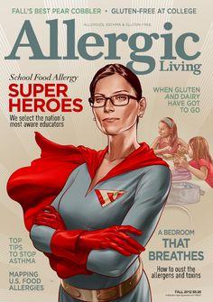 School Heroes, Allergic Living Magazine Cover : Martin Ansin, Illustrator | Illustration Portfolio