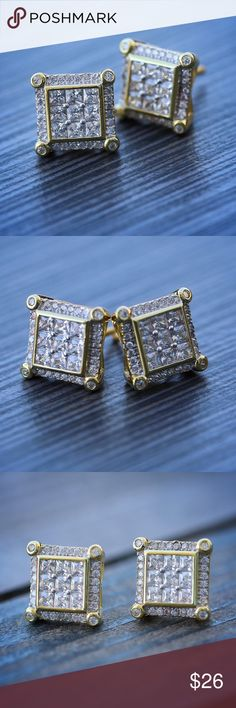 .925 sterling silver medium men earrings square with accent screw-back stud.