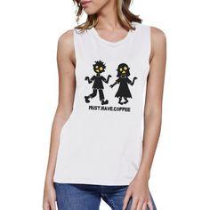 Coffee Zombies Womens Halloween Tshirt Sleeveless Muscle Tee Cotton #womenmuscle