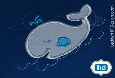Whale Applique Design -- Fish Applique Design -- Whale in Water Embroidery -- Summer Applique Design WA034