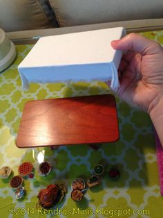 Miniature tablecloth idea - affix to top then slip over table so it sits neatly without damaging original piece -