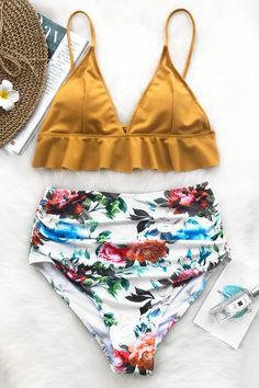 aab14e82f7f Cupshe Rambling Rose Falbala Bikini Set Bikinis For Teens