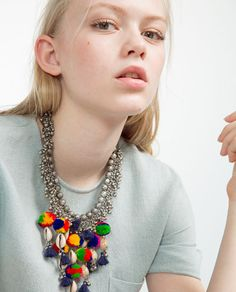 COLORFUL POMPOM AND BEAD NECKLACE from Zara