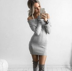 2017 Spring Women Mini Dress Slash Neck Bodycon Women Sweater Dress Casual Long Sleeve Off Shoulder Autumn Dress Ruffle Vestidos Dress Outfits, Fashion Outfits, Ladies Fashion, Tween Fashion, Fashion Ideas, Fashion Inspiration, Dress Clothes, Work Outfits, Chic Outfits