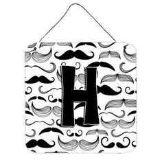 Caroline's Treasures Moustache Initial by Denny Knight Graphic Art Plaque Letter: